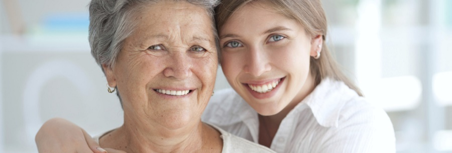 Young woman with grandmother.