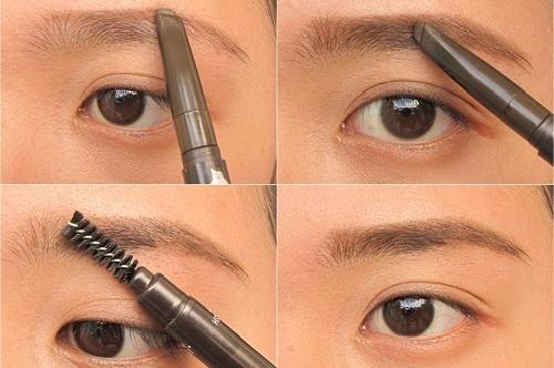 Bước 4: Dùng bút che khuyết điểm đồng màu da rồi kẻ viền ngoài phần lông mày, sau đó dùng chổi lông tán đều. Cách này khiến lông mày bạn lên dáng rõ hơn, đồng thời che được các khuyết điểm như lỗ chân lông to quanh vùng mắt.