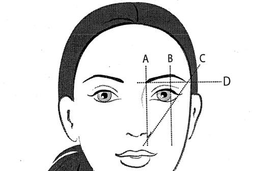 Bước 2:Lấy 2 đầu chân mày làm gốc, dùng mắt ướm 1 đường thẳng đi qua 2 điểm này. So sang đuôi mày 2 bên sao cho thật cân xứng. Tiếp đến lựa 2 điểm cao nhất ở 2 bên chânmày, ướm 1 đường thẳng chạy qua 2 điểm vừa lấy. Dựa vào đó để so sánh độ cân bằng giữa 2 đuôi mày.