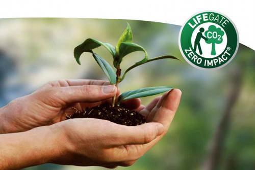 Logo zero impact chứng nhận không gây hại tới môi trường, xuất hiện ở các sản phẩm thiên nhiên có  này.