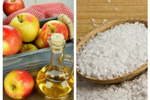 Với khả năng chống viêm, kháng khuẩn dung dịch giấm táo, muối có tác dụng trị viêm nang lông