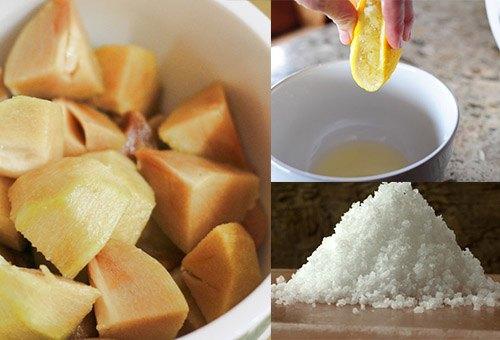 Nhựa quả hồng xiêm, nước cốt chanh và muối đều có tác dụng làm cho nang lông suy yếu.