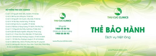Thẻ bảo hành dịch vụ triệt lông tại Thu Cúc Clinics.