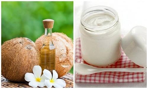 Dưỡng trắng da bằng dầu dừa, sữa chua