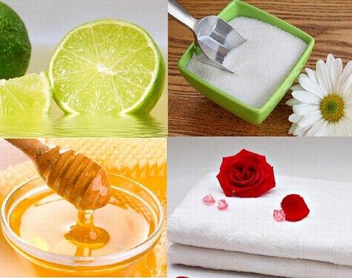 Tẩy da chết và làm suy yếu nang lông với hỗn hợp chanh, đường và mật ong.