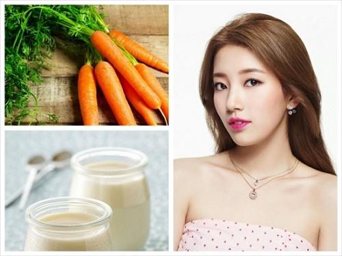 Mặt nạ cà rốt kết hợp với sữa chua rất an toàn nên thích hợp điều trị tàn nhang cho mọi loại da.