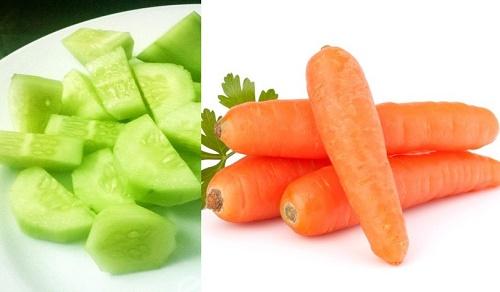 Trị tàn nhang bằng cà rốt và dưa chuột là công thức tự nhiên được rất nhiều chị em yêu thích.