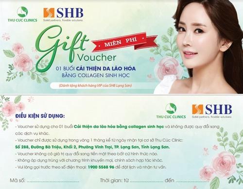 """Voucher free dịch vụ """"Cải thiện da lão hóa bằng collagen sinh học"""" dành riêng cho nữ khách hàng VIP của SHB Lạng Sơn"""