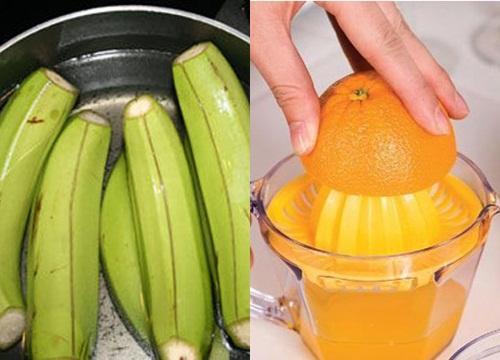 Mặt nạ chuối xanh và nước cam giúp làm mờ các vết nám và tàn nhang, cải thiện sắc tố da hiệu quả.