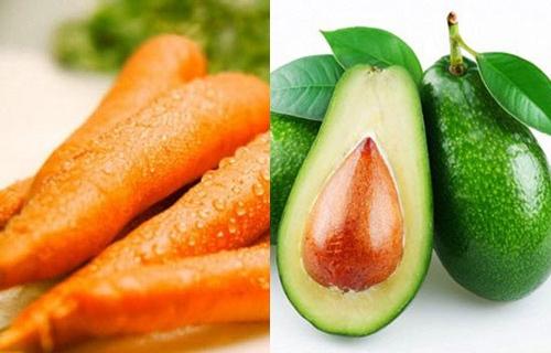 Bơ kết hợp với cà rốt giúp dưỡng ẩm cho da, cải thiện sắc tố, làm mờ các đốm tàn nhang.