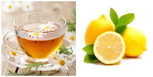 Hỗn hợp trà hoa cúc và nước chanh là một trong những loại mặt nạ giúp triệt lông rất tốt.
