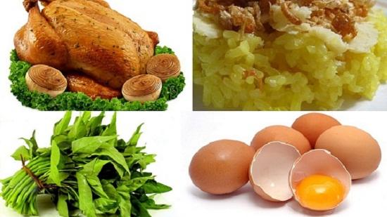 Kiêng ăn gạo nếp, thịt gà, rau muống, trứng gà sau một tuần đầu thực hiện