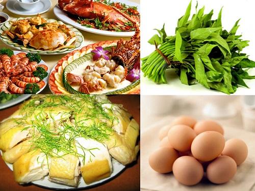 Kiêng thịt gà, rau muống, thịt bò, trứng, thủy hải sản ngay trong tuần đầu. Lưu ý chỉ cần kiêng khem ngay trong tuần đầu để tránh gây dị ứng hay để lại sẹo