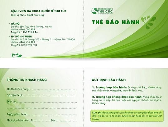 Thẻ bảo hành được phát cho khách hàng sau phun xăm mí mắt tại Thu Cúc Clinics