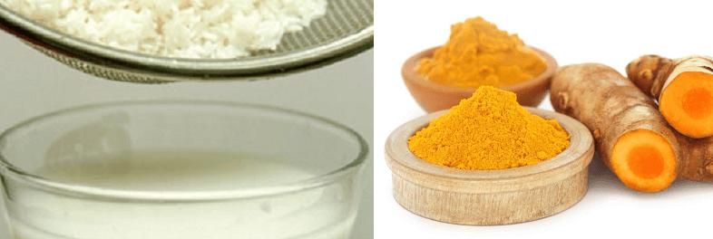 Kết hợp nước vo gạo với bột nghệ để tạo thành hỗn hợp đặc mịn rồi sau đó thoa đều lên vùng da bị rạn