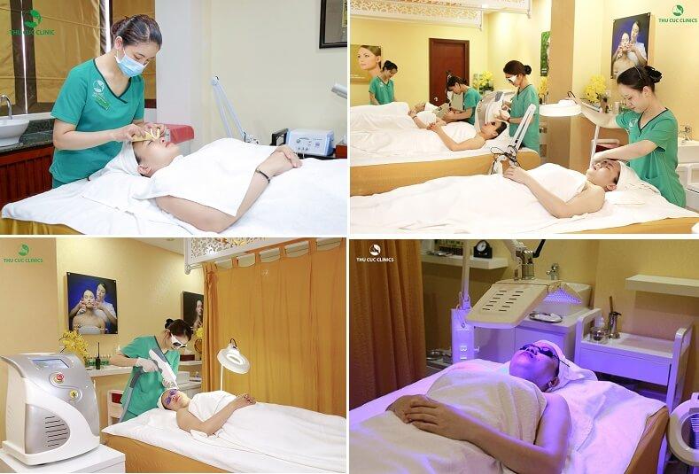 Khách hàng trị mụn bằng công nghệ BlueLight tại Thu Cúc Clinics