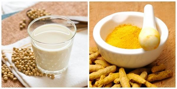 Hỗn hợp từ đậu nành và bột nghệ giúp triệt lông, làm trắng da và cung cấp dưỡng chất cho làn da tươi trẻ.