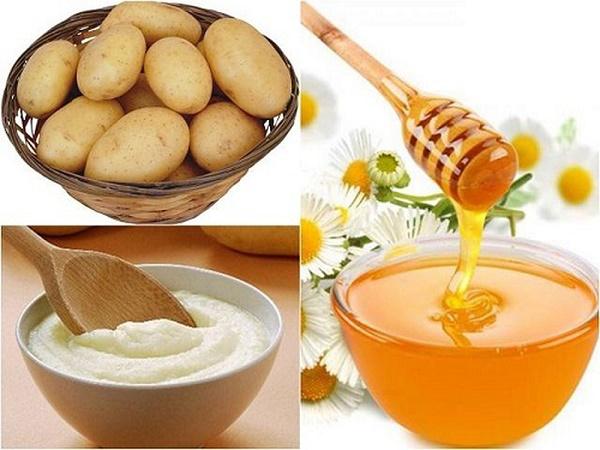 Trị tàn nhang ở mặt từ khoai tây và mật ong rất an toàn cho làn da nhạy cảm.