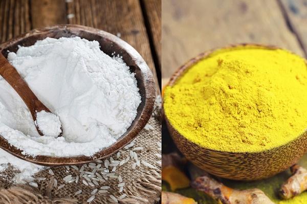 Cám gạo và bột nghệ dưỡng da sáng min, đồng thời loại bỏ nám tàn nhang hiệu quả.