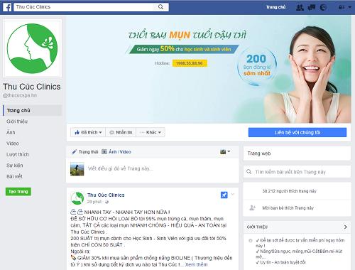 Giao diện Fanpage Thu Cúc Clinics
